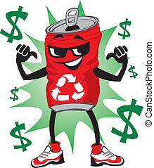 Illustration of an aluminum can pointing out that he is recyclable (and worth cash)!