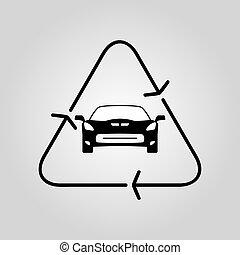 Recycle car icon. Vector