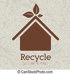 recycle design over pattern background vector illustration