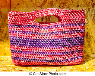Recycle color plastic handmade bag on recycle compressed wood ch