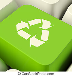 Recycle Computer Key In Green Showing Recycling And Eco Friendly