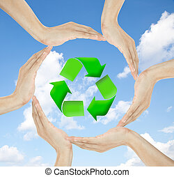 Recycle concept and human hands