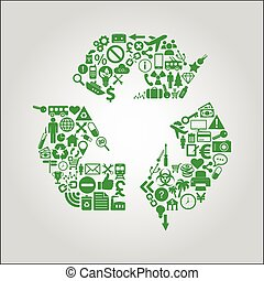 Recycle concept illustration- icons - Abstract contemporary...