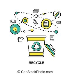 recycle concept: recycling bin with reusable materials in...