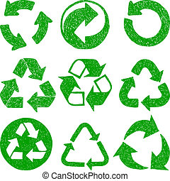 Recycle doodle icons - Illustration of recycle doodle icons...