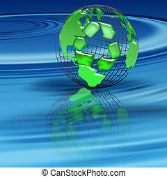 recycle - world globe floating on a pool of blue water