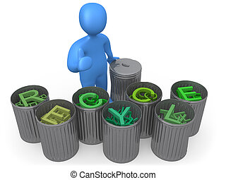 Recycle - Metaphor for recycling with each letter of the...
