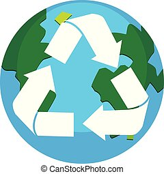 Recycle earth logo on white background