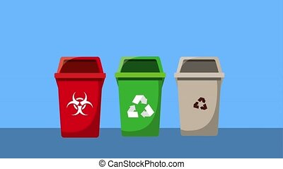 recycle ecology concept - differents types recycle waste bin...