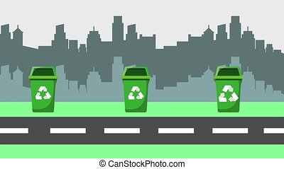 recycle ecology concept - garbage collector truck many bins...