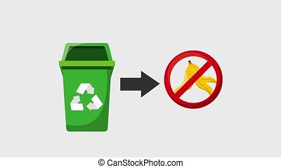 recycle ecology concept - green recycle trash can prohibited...