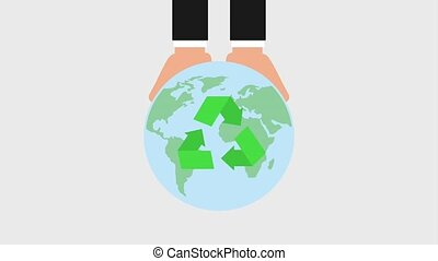 recycle ecology concept - hands holding planet earth with...