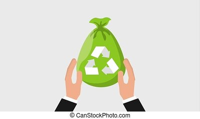 recycle ecology concept - hands holding plastic bag...