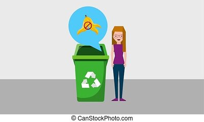 recycle ecology concept - woman explains the use of the...