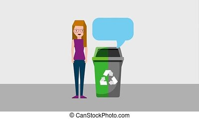 recycle ecology concept - woman with garbage bin two color...
