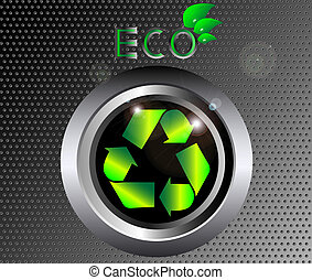 Recycle ecology Sign on black metal