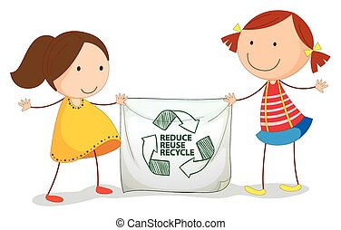 Recycle - illustration of girls holding a recycling sign