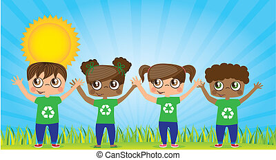 Recycle - Ecological children with recycling symbols, vector...