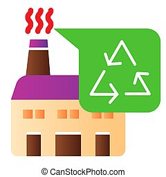 Recycle factory flat icon. Plant color icons in trendy flat style. Recycling industry gradient style design, designed for web and app. Eps 10.