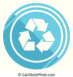 Recycle flat design blue web icon, easy to edit vector illustration for webdesign and mobile applications