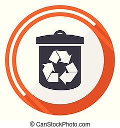 Recycle flat design vector web icon. Round orange internet button isolated on white background.