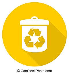 recycle flat design yellow web icon