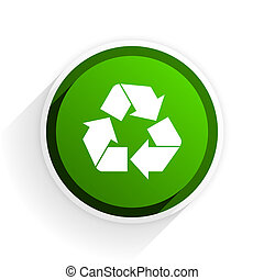 recycle flat icon with shadow on white background, green modern design web element