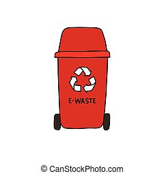 recycle garbage can, e-waste doodle icon, vector color illustration