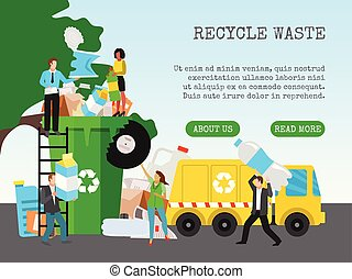 Recycle garbage, save ecology concept banner vector illustration. Small people throwing trash into big recycle bin. Waste plastic separate cans recycling. Sorting things.