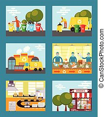 Recycle garbage, save ecology concept cards vector illustration. People throwing trash into recycle bins. Waste paper recycling. Sorting things in factory. Reusing paper for new books.
