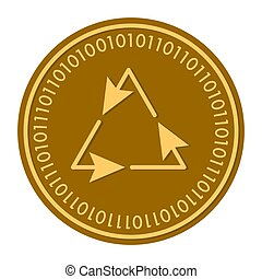 Recycle golden digital coin icon. Vector style. gold yellow flat coin cryptocurrency symbol. isolated on white. eps 10