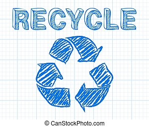 Recycle Graph Paper - Recycled symbol and word drawn on...