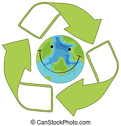 Recycle green earth icon