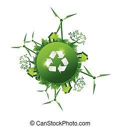 recycle green nature concept illustration design