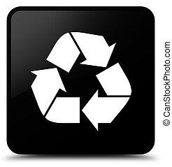 Recycle icon black square button