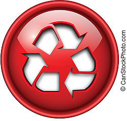 Recycle icon, button.