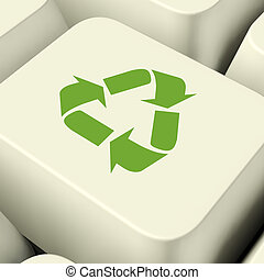 Recycle Icon Computer Key In Green Showing Recycling And Eco Friendliness