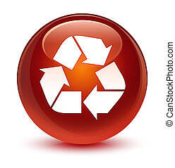 Recycle icon glassy brown round button