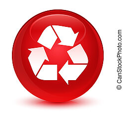 Recycle icon glassy red round button