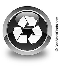 Recycle icon glossy black round button