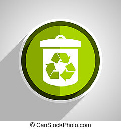 recycle icon, green circle flat design internet button, web and mobile app illustration