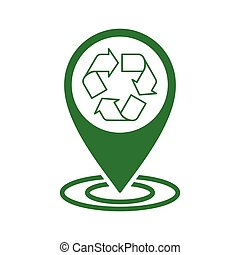recycle icon green pin line