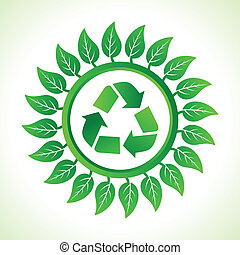 Recycle icon inside the leaf