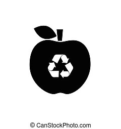 recycle icon on apple illustration