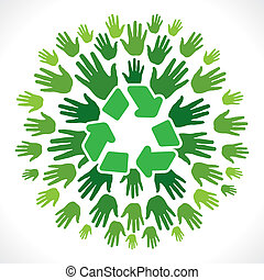 recycle icon on hand background
