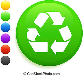 recycle icon on round internet button original vector...