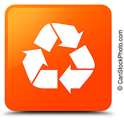 Recycle icon orange square button