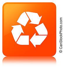 Recycle icon orange square button