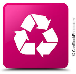 Recycle icon pink square button