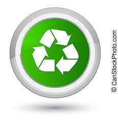 Recycle icon prime green round button